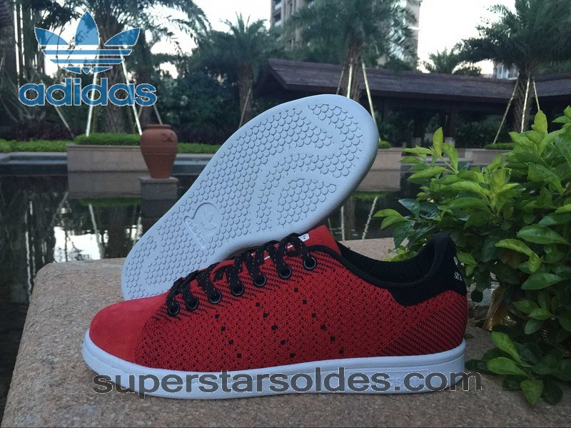 Prix d'Amis Adidas Stan Smith Flyknit Homme Chaussure Noir Rouge - Prix d'Amis Adidas Stan Smith Flyknit Homme Chaussure Noir Rouge-01-0