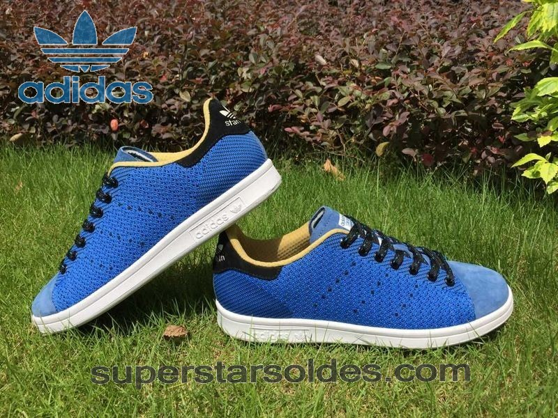 Indispensable Adidas Stan Smith Homme Chaussure Flyknit Bleu Royal - Indispensable Adidas Stan Smith Homme Chaussure Flyknit Bleu Royal-01-1