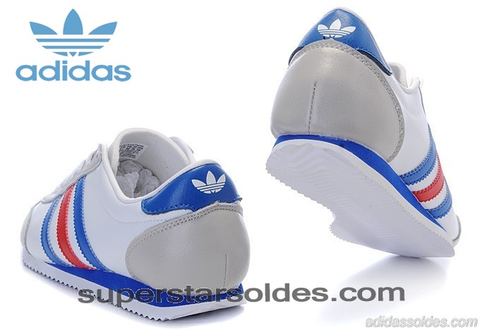 Chaussure Adidas 1609er Homme Leather Blanc Gris Bleu à Petit Prix - Chaussure Adidas 1609er Homme Leather Blanc Gris Bleu à Petit Prix-01-2